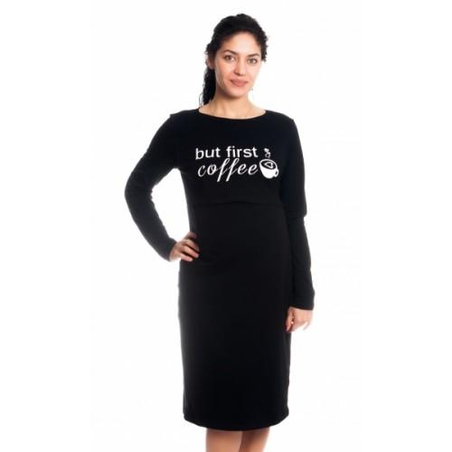 Be MaaMaa Tehotenská, dojčiaca nočná košeľa But First Coffee - čierna, veľ. L/XL, B19 - L/XL