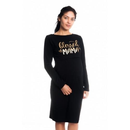 Be MaaMaa Tehotenská, dojčiaca nočná košeľa Blessed Mama - čierna, veľ. L/XL, B19 - L/XL
