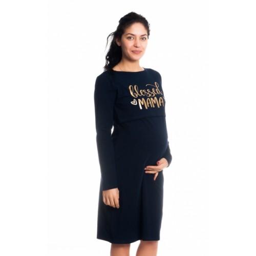 Be MaaMaa Tehotenská, dojčiaca nočná košeľa Blessed Mama - granátová, B19 - S/M