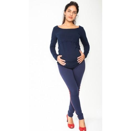 Be MaaMaa Tehotenské nohavice z lampasem - granátové, veľ. XL - XL (42)