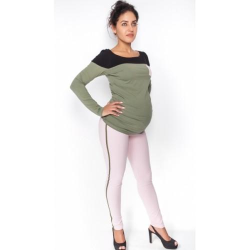 Be MaaMaa Tehotenské nohavice z lampasem - sv. růžové, veľ. M - M (38)