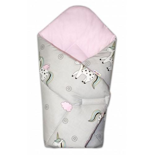 Baby Nellys  Novorodenecká zavinovačka Jednorožec, sivá/vnútro ružové
